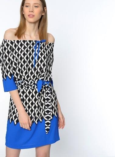 Desenli Kayık Yaka Elbise-Utopian